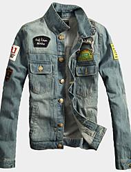 Men's Long Sleeve Casual Vest Jacket,Cotton / Acrylic Solid Blue 916258