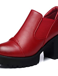 Women's Shoes Synthetic Spring / Fall / Winter Heels Office & Career / Casual Chunky Heel Sparkling Glitter Black / Red