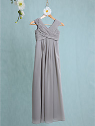 LAN TING BRIDE Floor-length Chiffon Junior Bridesmaid Dress Sheath / Column V-neck Natural with Side Draping