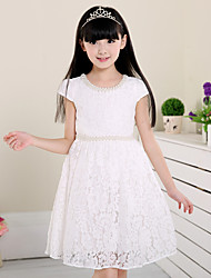 A-line Knee-length Flower Girl Dress - Cotton / Lace Short Sleeve Jewel with Pearl Detailing