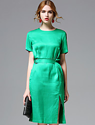 AFOLD® Women's Round Neck Short Sleeve Knee-length Dress-5669