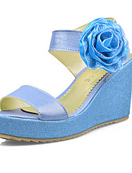 Women's Shoes Leatherette Wedge Heel Wedges Sandals Wedding / Party & Evening / Dress / Casual Blue / Pink