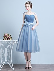 Cocktail Party Dress A-line Straps Tea-length Tulle with Appliques / Bow(s)