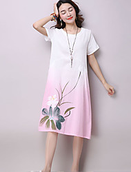 Women's Casual/Daily Chinoiserie Loose Dress,Floral Round Neck Knee-length Short Sleeve  Linen Spring / Summer