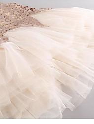 Robe Fille de Fleur Décontracté / Quotidien Fausse Fourrure / Rayonne Eté Beige