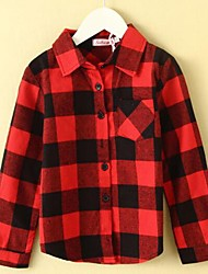Girl's Casual/Daily Color Block Blouse,Cotton Winter / Fall Red