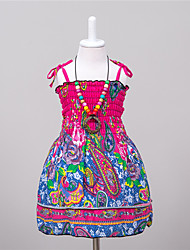 Girl's Casual/Daily Print Dress,Polyester Summer Red