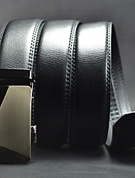 Men Simple Black Business Automatic Buckle Leather Wide Belt,Work / Casual