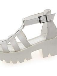 Damen Sandalen PU Sommer Normal Schnalle Geteilte Sohle Weiß Schwarz 5 - 7 cm