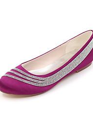 Women's Spring / Summer / Fall / Winter Round Toe Satin Wedding / Party & Evening Flat Heel RhinestoneBlack / Blue / Pink / Purple /