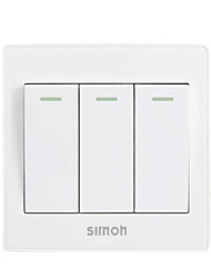 Panel 86 Elegant White Wall Switch with Fluorescent Three Open Single Control Switch