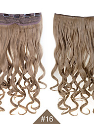 "Clip In Synthetic Hair Extensions 24"" 120g Silky Fiber Hair  #16 Brown Curly Hairpiece Wavy No Shedding"