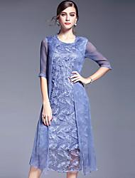 AFOLD® Femme Col Arrondi Manches 1/2 Asymétrique Robes-5618