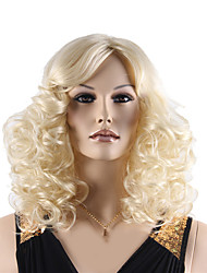 High Quality Natural Long Curly Light Blonde Color Synthetic Wig For White Women