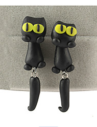Fashion Manual Polymer Clay Animals Big Eye Stereoscopic Cat Earrings