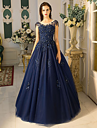 Formal Evening Dress Ball Gown Jewel Floor-length Lace / Tulle with Beading / Lace / Sequins