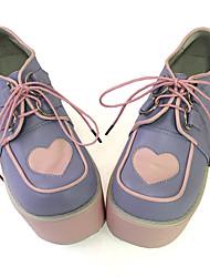 Punk Cuero / Pana 10 Tacón Cuña Morado Zapatos de Lolita