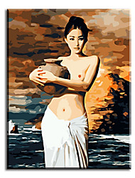 Hand Painted Oil Painting Home Decor For Living Room Of Sexy Lady Image with Stretched Frame Ready to Hang
