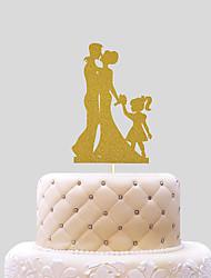 Decoración de Pasteles No personalizado Pareja Clásica Papel de tarjeta Matrimonio Lazo Oro Tema Playa / Tema Clásico 1 OPP