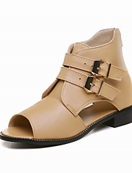 Women's Shoes Flat Heel Peep Toe / Fashion Boots Boots Office & Career / Dress / Casual Black / White / Almond