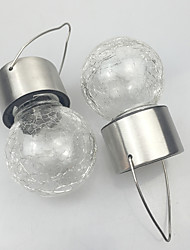 Pack of 2 Solar LED Stainless Steel Crackle Glass Hanging Light Pathway Garden Lamp