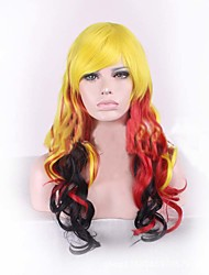 Long Length Wave Hair European Weave Multi-Color Yellow Black Red Mix Color Cosplay Synthetic Wig