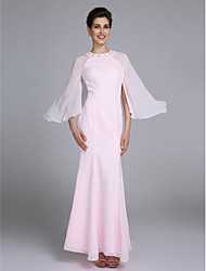 Lanting Bride® Trumpet / Mermaid Mother of the Bride Dress Ankle-length Long Sleeve Chiffon with Beading
