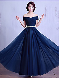 Formal Evening Dress Ball Gown Off-the-shoulder Floor-length Satin / Tulle with Sash / Ribbon / Side Draping