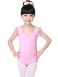 Children's Training Cotton / Crepe Criss-Cross / Pleated / Ruffles Short Sleeve Natural Kid's Dance Costumes