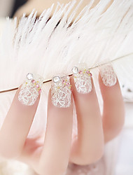 24PCS Fashion White Lace Nail Tips