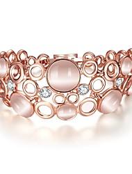 Feminino Bracelete Zircão Opala Rosa Folheado a Ouro 18K ouro Moda Forma Redonda Ouro Rose Jóias 1peça