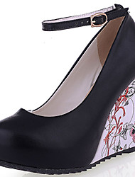 Women's Shoes Wedge Heel Round Toe Flower Printed Platform Pumps More Colors Available