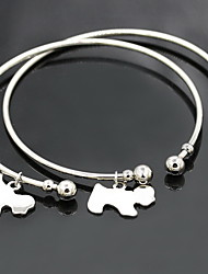 Gold/Silver Alloy Dog Pendant Cuff Bangle Bracelet