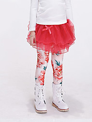 Girl's Casual/Daily Floral Pants / Leggings,Cotton / Spandex All Seasons White