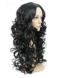 Fashion Beautiful Long Wave Black Color Synthetic Wig for Women