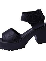Women's Sandals Summer Sandals PU Casual Chunky Heel Hook & Loop Black / White Others