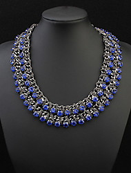 Luxury colored crystal gem multilayer woven short clavicle necklace