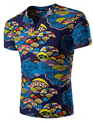 Men's Casual Slim V-Neck Fan Pattern Printed Short Sleeved T-Shirt,Cotton / Spandex Short Sleeve-Blue / Red