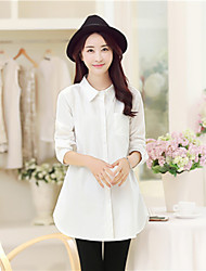 Maternity Shirt Collar Ruched Shirt,Cotton Long Sleeve