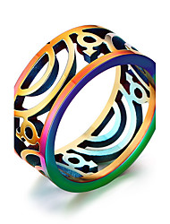 Unisex Rainbow Gay Pride Hollow Stainless Steel Band Ring