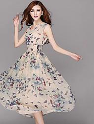 BOMOVO® Women's V Neck Short Sleeve Tea-length Dress-B16XAJ3