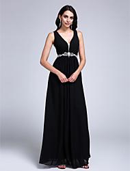 2017 vestido de noite formal chiffon uma linha v-pescoço até o chão com beading / drapeados lado