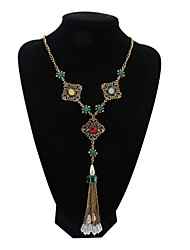 Fashion Square Hollow Gem Huadiao Tassel Short Necklace Exotic Decorations