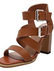 Черный / Коричневый-Женская обувь-На каждый день-Полиуретан-На толстом каблуке-На каблуках-Обувь на каблуках
