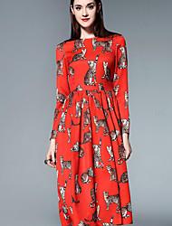 mary yan& yu femmes / jour mignon une robe de ligne casual, print tour midi cou ¾ en coton à manches rouge été