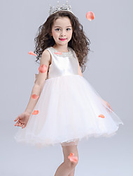 Ball Gown Knee-length Flower Girl Dress - Organza / Satin Sleeveless Jewel with Bow(s) / Sequins