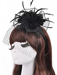 The Flower Net Yarn Feather Hat