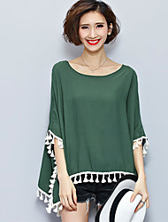 Maternity Round Neck Tassel Blouse,Cotton ¾ Sleeve