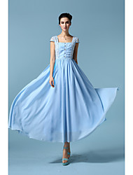 Women's Casual/Daily Street chic Sheath / Chiffon Dress,Geometric Strapless Maxi Short Sleeve Blue Polyester All Seasons