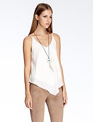 HEARTSOUL Women's Going out Simple Summer Tank Top,Solid V Neck Sleeveless White Polyester Thin